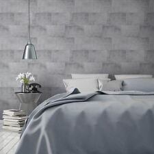 METALLIC BRICK WALLPAPER - SILVER - MURIVA 141202 TILE STONE NEW