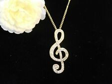 MUSIC NOTE Necklace Pendant Gold Tone US Seller Stock NEW  Women Girls