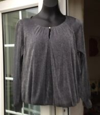 BNWT - WALLIS PETITES SHIMMERY GREY MESH OUTER LONG SLEEVE TOP -SIZE M
