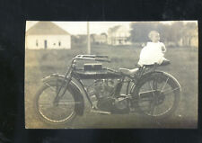 REAL PHOTO VINTAGE INDIAN MOTORCYCLE WITH BABY ON IT POSTCARD COPY
