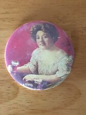 """Vintage Coca Cola Pinback Coke Lady 3"""" Button Here's A Glass For You!"""
