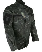 ASSAULT  SHIRT ACU BTP BLACK ARMY MILITARY SURPLUS COMBAT