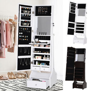 LED Long Mirrored Jewelry Cabinet Armoire Floor Standing Organizer w/ Lock