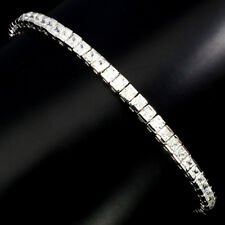 Sterling Silver 925 Genuine Square Cut Lab Created Diamond Bracelet 71/2 Inch