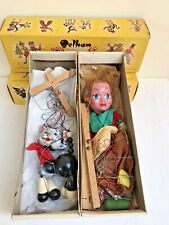 2  x 1960s Vintage Pelham Puppets: Cat & Gypsy/Peasant Girl + Original Boxes