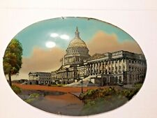 """Antique REVERSE Glass Painting US Capitol Building Washington DC 20 x14"""""""