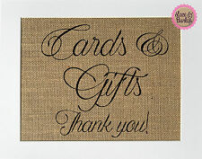 5x7 Cards & Gifts. Thank You! / Burlap Print Sign UNFRAMED / Wedding Party Sign