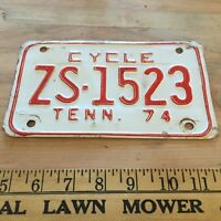 Vintage 1974 Tennessee Motorcycle License plate -  worldwide shipping