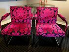 Milo Baughman set of chrome dining chairs   RECENTLY REUPHOLSTERED