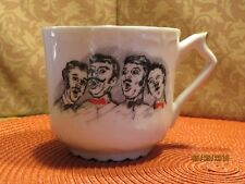 VINTAGE MUSTACHE MUG CUP Tea Coffee White Gold Trim Barber Shop Quartet