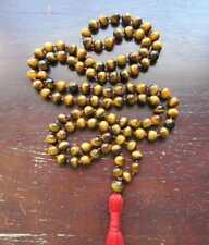 Tiger eye gemstone 8MM 108 Mala Necklace Prayer beads yoga tassel Bracelet
