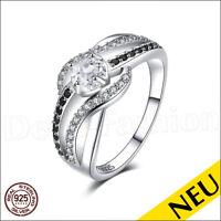 NEU 🌸 Echt 925 Sterling Silber BLACK AAA ZIRKONIA schwarz weiß SOLITÄR 🌸 Ring