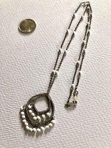 Sundance Vintage Dana Kellin Sterling Silver Wire Wrapped White Glass Necklace