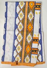 African Print Fabric, Ankara - White, Blue, Orange 'Day Party', By the Yard