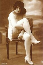 1900s-20s (4 x 6) Repro Semi Nude Sepia Pinup RP- Up Skirt- Stockings- Heels