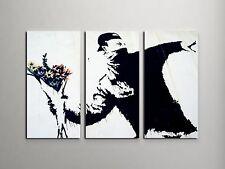 "Banksy Flower Thrower Stretched Canvas Triptych Print 48""x30"". BONUS WALL DECAL!"