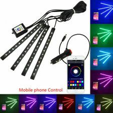 4pcs RGB LED Strips Bluetooth App Control Car Interior Under Atmosphere Lights