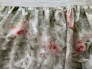 Laura Ashley Cottage Rose Floral Twin Bedskirt Pink Rose Floral Ruffle Made USA