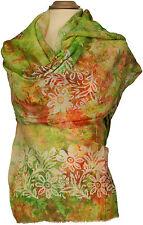 Scialle in cotone seta, Batik Verde Arancione Summer Scarf Green Cotton Silk print