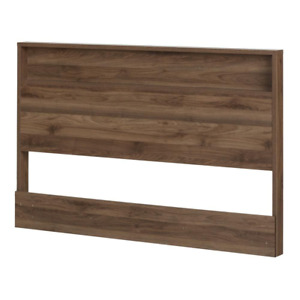 South Shore Queen Size Panel Headboard Small Shelf Particle Board Natural Walnut