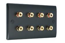 4.0 AV Audio Speaker Wall Face Plate Matt Black  8 Gold Binding Posts Non-Solder