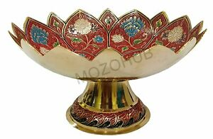 Antique Brass Stand Bowl Red Color Lotus Pattern 25 cm Showpiece Gift Item