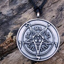 Inverted Star Baphomet Goat Satan PENTAGRAM Pewter Pendant And Cotton Necklace
