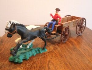 Vintage Swoppet Western Wagon or Buckboard with Driver & Two Horse Team 1970s
