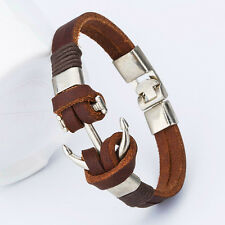 Men's Leather Bracelet Silver Head Nautical Bangle Biker Wristband,PRO
