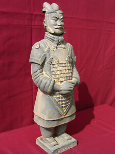 Terrakotta Figur (Soldat, Krieger) General, 42cm, dunkel