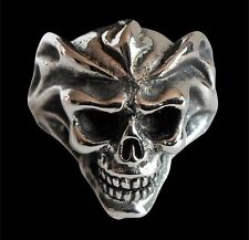 Stainless Del Fuego Skull Ring Custom Size Handmade Fire Demon Occult R-148ss