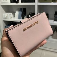 Michael Kors Womens Bifold Leather Coin Wallet Credit Card id Money Holder Pink