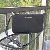 Michael Kors Medium Crossbody Bag Handbag Leather Shoulder Purse Messenger Black