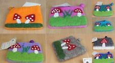 HANDMADE Felt Coin Purse Wallet Mushroom Felted Clutch Pouch Fair-trade FB1