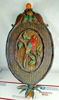 Vintage Macaw Polly Parrot Bird Metal Wall Hanging Plaque Chalkware Decor