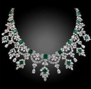 Green Emerald White Pear Marquise Diamond Necklace Red Carpet Event Jewelry