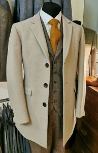 Mens Oatmeal Cromby Style Overcoat Winter Classic Coats Sale Bargain Price