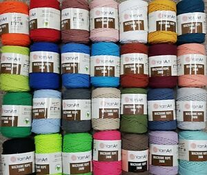 1 full roll YarnArt Macrame Rope 3mm double twisted String250g choose colours