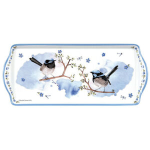 Ashdene Plume and Perch Sandwich Tray Birds Floral Blue White Traditional