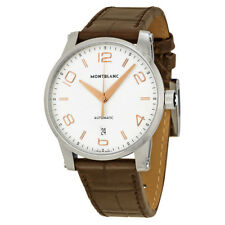 Montblanc Timewalker Automatic White Dial Brown Leather Mens Watch 110340