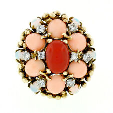 Vintage 14k Gold Ox Red & Angel Skin Pink Coral Opal Diamond Bombe Cocktail Ring