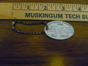 VIN. 1950 STEELER'S SCHEDULE ON FOOTBALL SHAPED KEY CHAIN, ADV. FORT PITT BEER