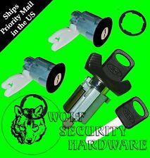 Ford Large Face Ignition Key Switch Lock Cylinder & Door Lock Set Black 2 Keys