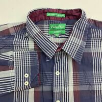 Color Plus Button Up Shirt Men's Size 2XL XXL Long Sleeve Blue Gray Plaid Cotton