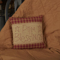 VHC Primitive Throw Pillow Cover + Insert for Sofa Couch Burgundy Prim Blessings