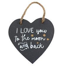 Te amo a la Luna y espalda pizarra Corazón Colgante signo Puerta Pared Regalo de familia