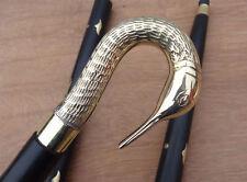 Vintage Designer Swan handle brass Wooden Walking Stick canes vintage men's gift