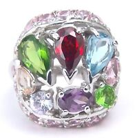Garnet Amethyst Peridot Pink color CZ Ring Sterling Silver Size 6
