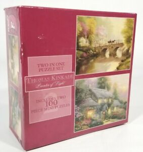 Thomas Kinkade Bridge & Cottage2-in-1 Jigsaw Puzzle Set (2-100 Pc Mini Puzzles)