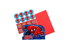 SPIDERMAN PARTY SUPPLIES INVITATIONS PACK OF 8 BIRTHDAY POSTCARD INVITES